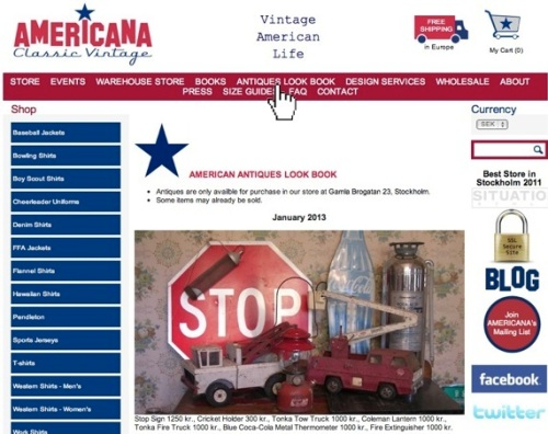 View AMERICANA's Full Line of Antiques Online